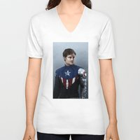 bucky barnes V-neck T-shirts featuring Bucky by E Cairns Art