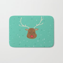 Merry Christmas and a Happy New Year Reindeer Print Bath Mat