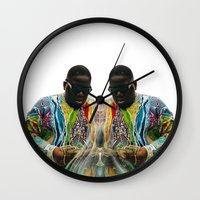biggie smalls Wall Clocks featuring Biggie Smalls by IFEELFREEDXM