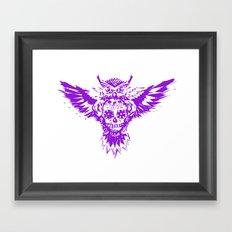 SUGAR SKULL OWL PURPLE  Framed Art Print