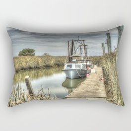 Boat in Marsh 3 Rectangular Pillow