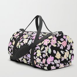 Abstract black pink yellow watercolor floral Duffle Bag