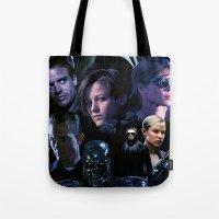 saga Tote Bags featuring Terminator Saga by Saint Genesis