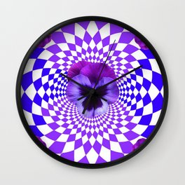OPTICAL LILAC  PURPLE PANSIES GEOMETRIC ART Wall Clock