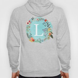Personalized Monogram Initial Letter L Blue Watercolor Flower Wreath Artwork Hoody