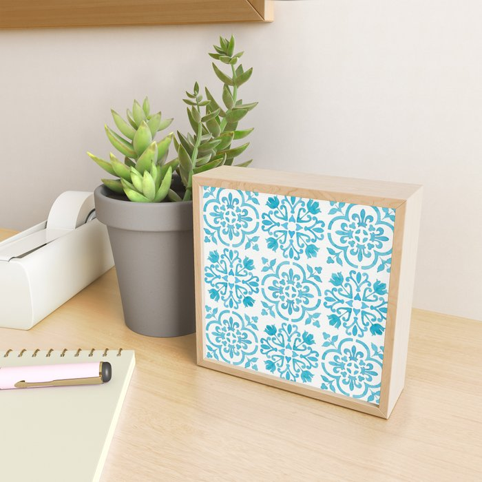 Watercolor Moroccan Tiles - Turquoise Blue Framed Mini Art Print