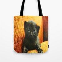 kitten Tote Bags featuring kitten by Bar Morrison