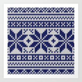 Winter knitted pattern 5 Art Print