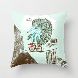 Ernie Echidna highwire extraordinaire  Throw Pillow