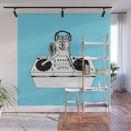 Shiba Inu Dog DJ-ing Wall Mural