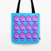 sugar skulls Tote Bags featuring Sugar Skulls by Bex Parker
