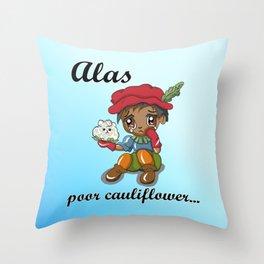 Alas, poor cauliflower. A vegan version of Hamlet.  Throw Pillow