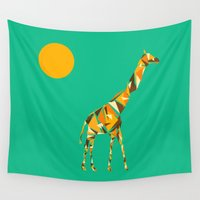 giraffe Wall Tapestries featuring Giraffe  by fly fly away