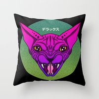 sphynx Throw Pillows featuring SPHYNX by SHIN DE☆LUXE