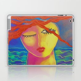 Heat Colorful Abstract Digital Painting of a Red Haired Woman Laptop & iPad Skin