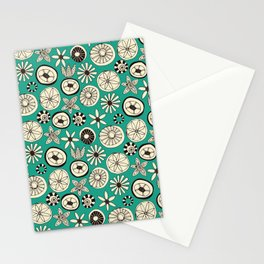 summer flowers teal Stationery Cards