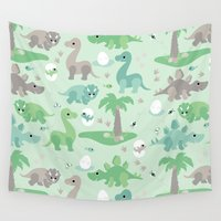 dinosaurs Wall Tapestries featuring Baby dinosaurs by Heleen van Buul
