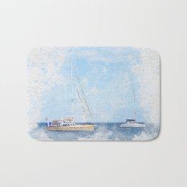 Sail boats on a calm sea Bath Mat