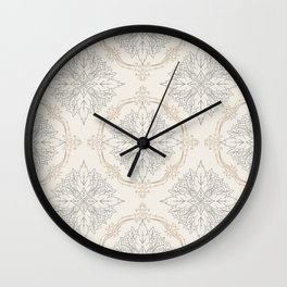 Modern Floral Damask Pattern – Neutral Brown and Gray Earth Tones Wall Clock