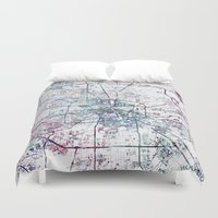 houston Duvet Covers featuring Houston map by MapMapMaps.Watercolors