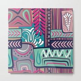 African Boho Geometric Pattern Metal Print