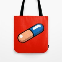 akira Tote Bags featuring AKIRA PILL by R-evolution GFX