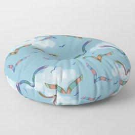 Boho Birds in Flight with Clouds Pattern Floor Pillow