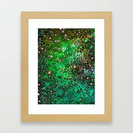 RAINBOW DOTTY OCEAN 3 Green Lime Ombre Space Galaxy Colorful Polka Dot Bubbles Abstract Painting Art Framed Art Print