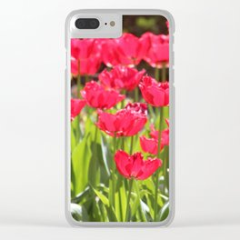 Neon Red Tulips Clear iPhone Case