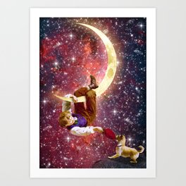 Playing on the Moon 2 Art Print
