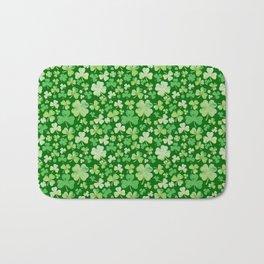 Lucky Green Watercolour Shamrock Pattern Bath Mat