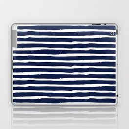 Navy Blue Stripes on White II Laptop & iPad Skin