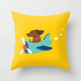 Airplane Dog Throw Pillow