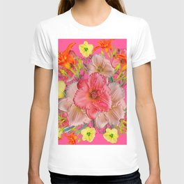 YELLOW PINK & CREAM DAYLILIES COLLAGE T-shirt