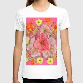 YELLOW PINK & CREAM DAYLILIES COLLAGE T-shirt