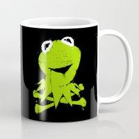 kermit Mugs featuring Pochoir - Kermit by Krikoui