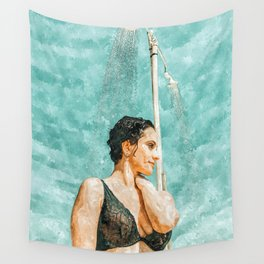 Bathe #painting #illustration Wall Tapestry