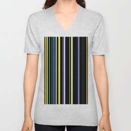 Blue and yellow stripes on black Unisex V-Neck