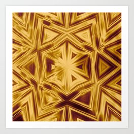 Bold copper striped kaleidoscope Art Print