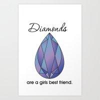 Diamonds (purple) Art Print