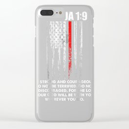 Thin Red Line Firefighter Bible Verse Christian T-Shirt Clear iPhone Case
