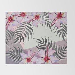 Ibiscus on Geometry Throw Blanket