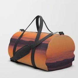 Evening Lakescape Orange Sunset Sky Reflection #decor #society6 #buyart Duffle Bag
