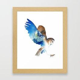 Flying night cute owl Framed Art Print