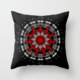 Bright Red Silver Star Flower Mandala Throw Pillow
