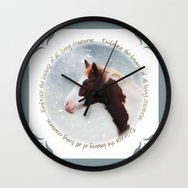 Paint Horse in the Snow  Wall Clock