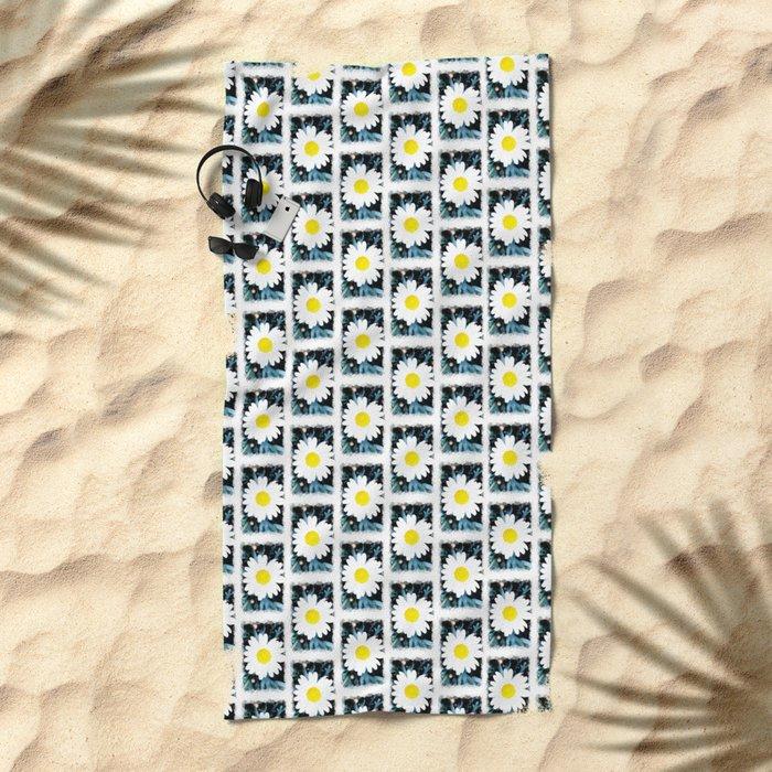 SMILE Pattern - White Daisy Flower #1 Beach Towel