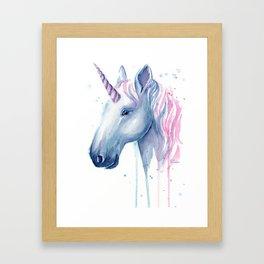 Blue Pink Unicorn Framed Art Print