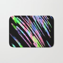 Abstract pink teal lime green black watercolor brushstrokes Bath Mat