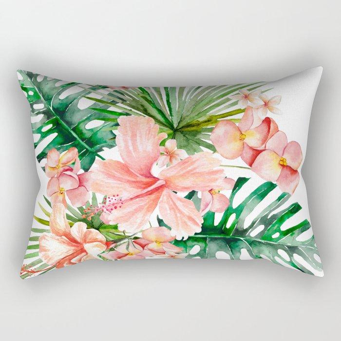 Tropical Jungle Hibiscus Flowers - Floral Rectangular Pillow